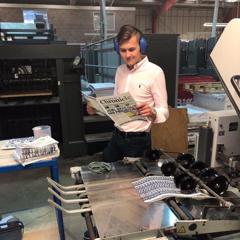 Joel at the Printers